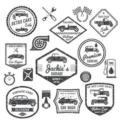 Retro Car Label Black Set vector image
