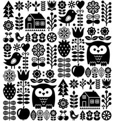 scandinavian seamless folk pattern - black finnish vector image