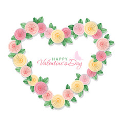 valentine s day card floral heart isolated on vector image
