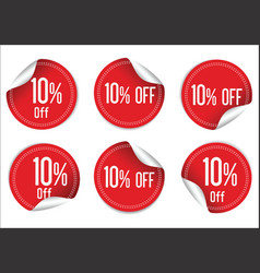10 percent off red paper sale stickers vector