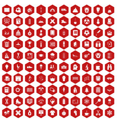 100 school years icons hexagon red vector image