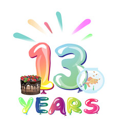 13 years birthday celebration with balloons vector image