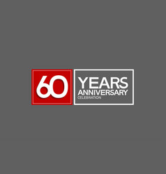 60 years anniversary in square with white and red vector