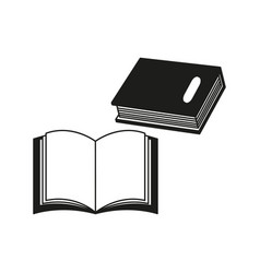 a few books of black icon or a e-book read vector image