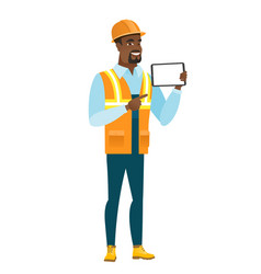 african-american builder holding tablet computer vector image