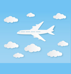 aircraft in blue sky flight airplane and vector image