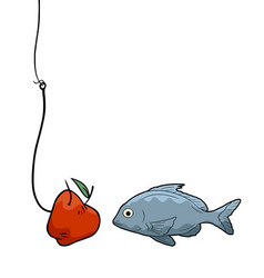 apple and fish vector image