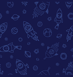 astronaut space animals on blue background vector image