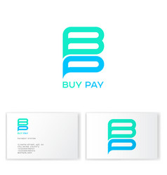 b and p letters monogram payment system vector image