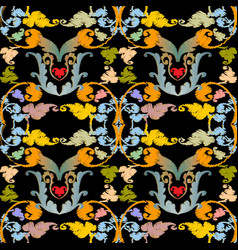 baroque colorful embroidery seamless pattern vector image