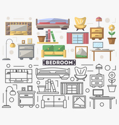 Bedroom furniture set in flat style vector