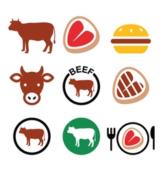 Beef meat cow icon set vector