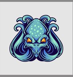 blue octopus logo mascot vector image