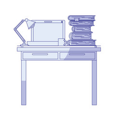 Blue shading silhouette of work place office vector