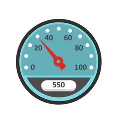 Blue speedometer icon flat style vector
