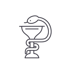 bowl with a snake line icon concept bowl with a vector image