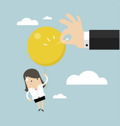 businessman hand pushing needle to pop the balloon vector image