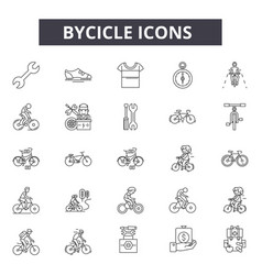 Bycicle line icons for web and mobile design vector