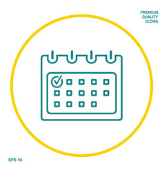 calendar with check mark- line icon graphic vector image