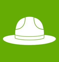 Canadian hat icon green vector