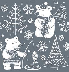 Cartoon polar bears seamless pattern vector