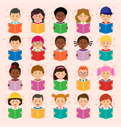 Children different nationality reading book vector