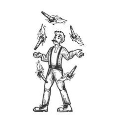 Circus fire juggler performer engraving vector