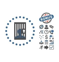Closed Prisoner Flat Icon With Bonus vector