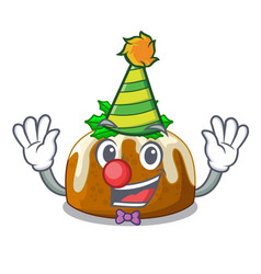 Clown christmas pudding isolated on the mascot vector