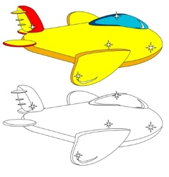 Color and Outline Version of the Aircraft vector image