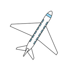Color silhouette cartoon top view travel airplane vector