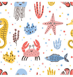 colored seamless pattern with happy sea and ocean vector image