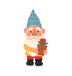 colorful cute garden gnome vector image