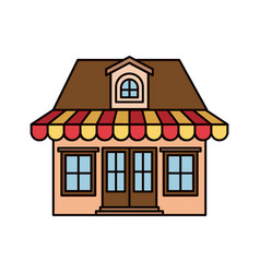 Colorful silhouette of facade store with awning vector