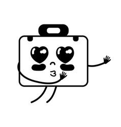 Contour kawaii cute tender briefcase and medical vector