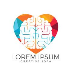 Creative brain heart shape logo design vector