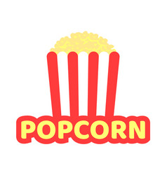 Crispy popcorn in striped pack promotional emblem vector