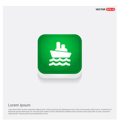 cruise icon green web button vector image