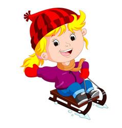 cute girl sledding in snow vector image
