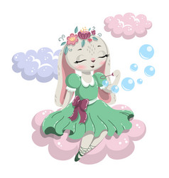 Cute rabbit sitting on a cloud and blowing soap vector