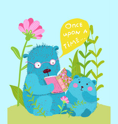 Cute teddy bear and bear cub reading fairy tale vector