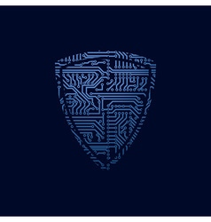 Data security icon Circuit board shield vector image