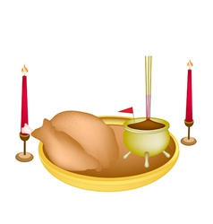Delicious Roast Chicken for New Year Worship vector