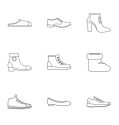 Designer shoes icons set outline style vector
