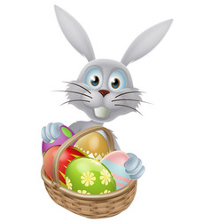 eggs basket easter bunny rabbit vector image