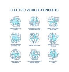 Ev introduction round concept icons set vector
