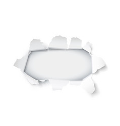 explosion paper hole on white background vector image