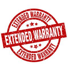 Extended warranty round red grunge stamp vector