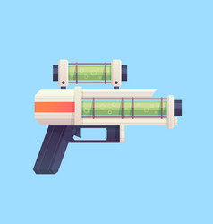 Flat cartoon sci-fi gun blaster with acid liquid vector
