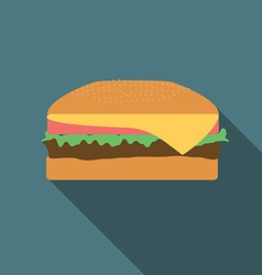 Flat design burger icon with long shadowFlat vector image